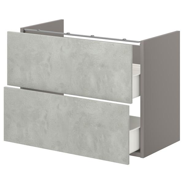 ENHET Onderkast voor wastafel met 2 lades, grijs/betonpatroon, 80x42x60 cm