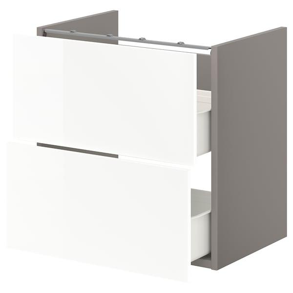 ENHET Onderkast voor wastafel met 2 lades, grijs/hoogglans wit, 60x42x60 cm