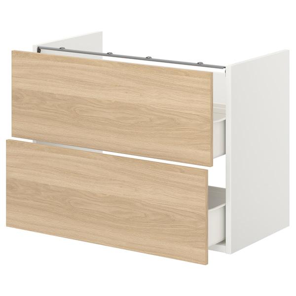 ENHET Onderkast voor wastafel met 2 lades, wit/eikenpatroon, 80x42x60 cm