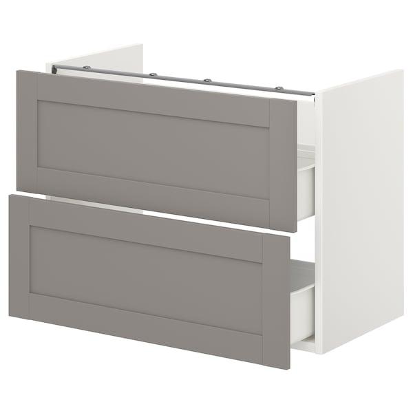 ENHET Onderkast voor wastafel met 2 lades, wit/grijs frame, 80x42x60 cm