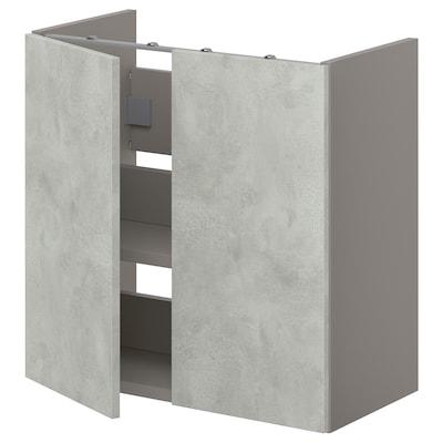 ENHET Onderkast wastafel met plank/deuren, grijs/betonpatroon, 60x30x60 cm