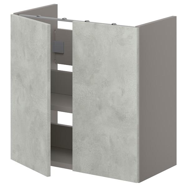 ENHET Onderkast wastafel met plank/deuren, grijs/betonpatroon, 60x32x60 cm
