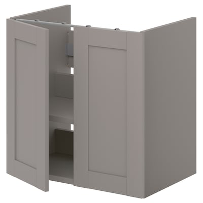ENHET Onderkast wastafel met plank/deuren, grijs/grijs frame, 60x42x60 cm