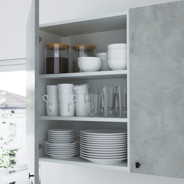 ENHET Opbergcombinatie voor was, antraciet/betonpatroon, 90x32x180 cm