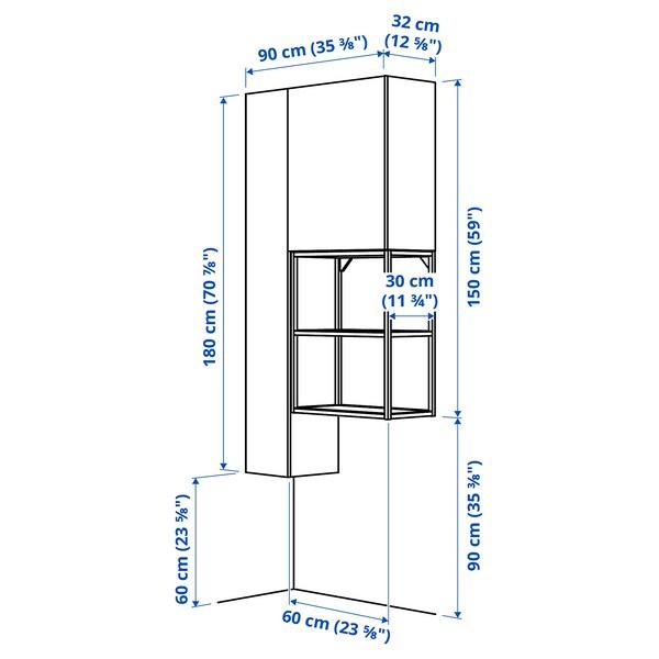 ENHET Opbergcombinatie voor was, wit/grijs frame, 90x32x180 cm