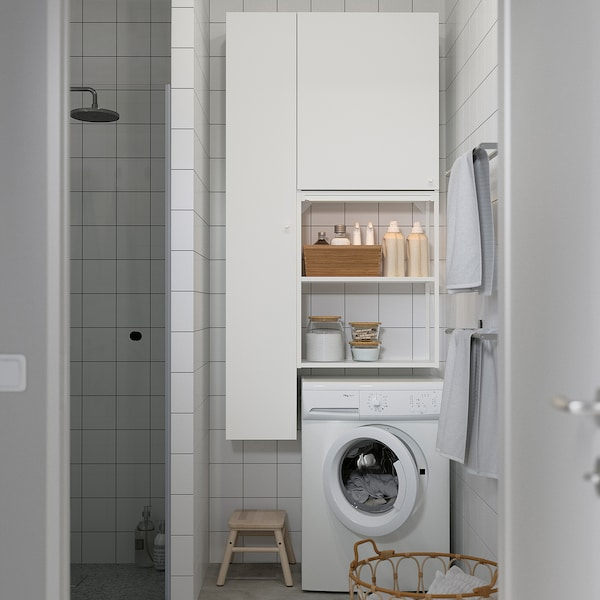 ENHET Opbergcombinatie voor was, wit, 90x32x180 cm