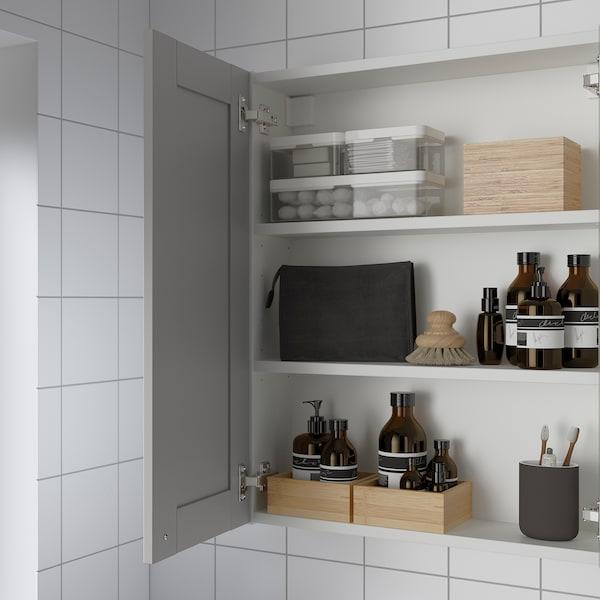 ENHET Spiegelkast met 2 deuren, wit/grijs frame, 60x17x75 cm