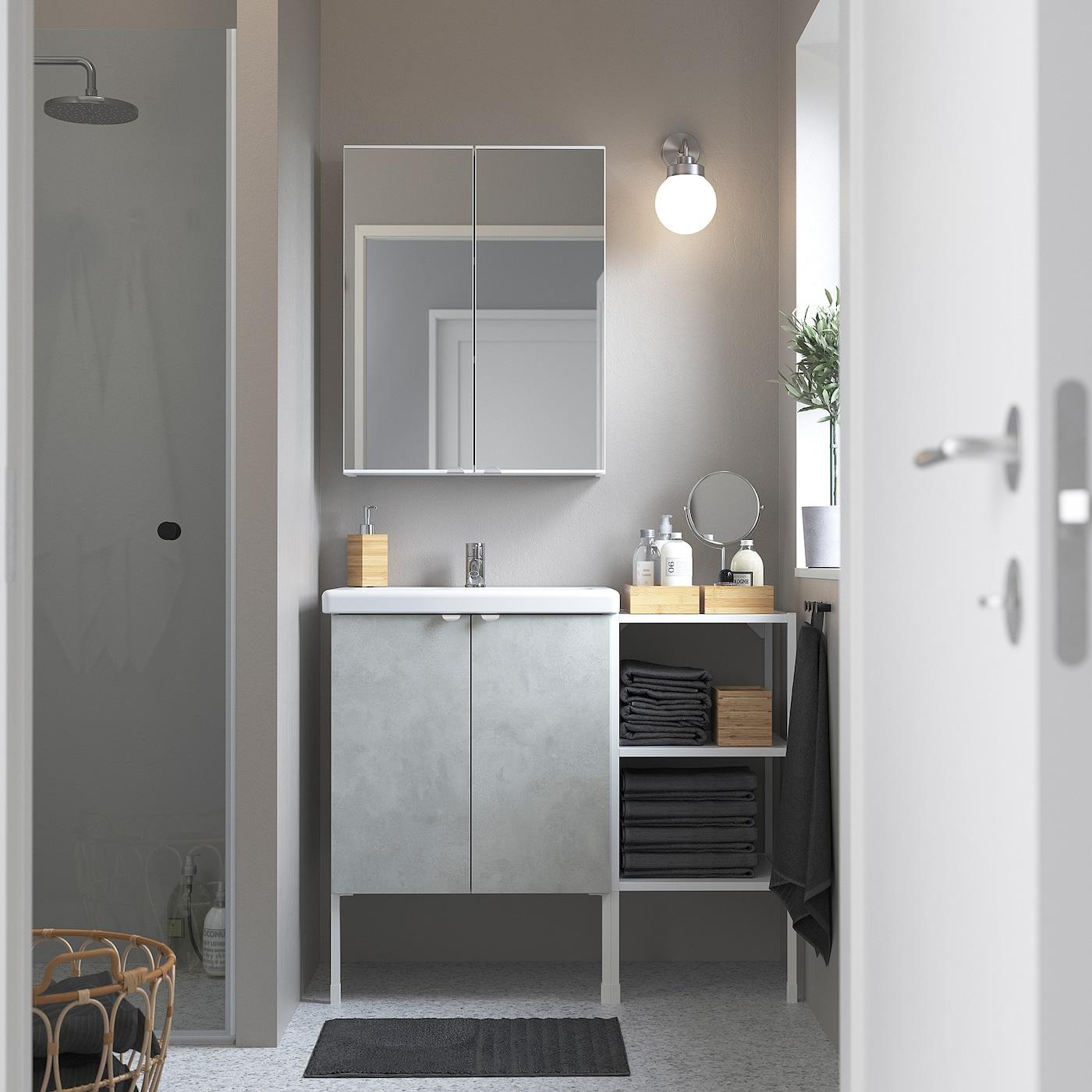 ENHET / TVÄLLEN Badkamermeubels, 14-delig, betonpatroon/wit PILKÅN kraan, 102x43x87 cm