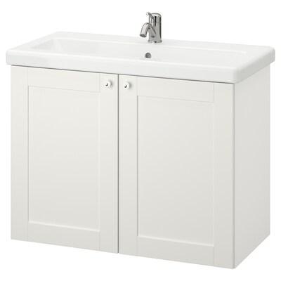 ENHET / TVÄLLEN Kast voor wastafel 2 deuren, wit frame/wit LILLSVAN kraan, 84x43x65 cm