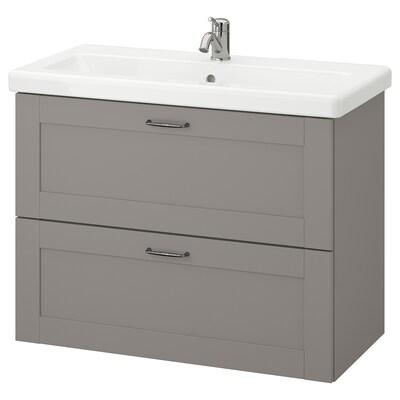 ENHET / TVÄLLEN Kast voor wastafel met 2 lades, grijs frame/grijs LILLSVAN kraan, 84x43x65 cm