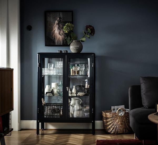 FABRIKÖR Vitrinekast, zwartblauw, 81x113 cm
