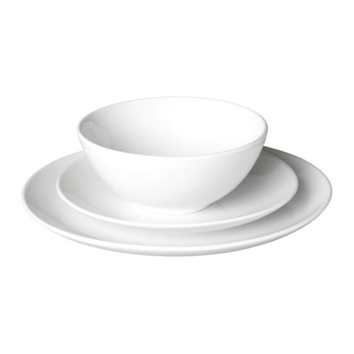 FÄRGRIK Servies 18-delig, wit, steengoed