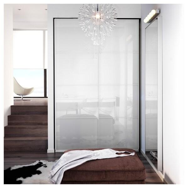 FÄRVIK Schuifdeur, set van 2, wit glas, 150x236 cm