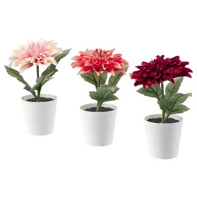FEJKA Kunstplant met pot, binnen/buiten Dahlia, 6 cm