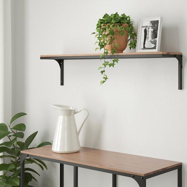 FJÄLLBO Wandplank, zwart, 101x20 cm
