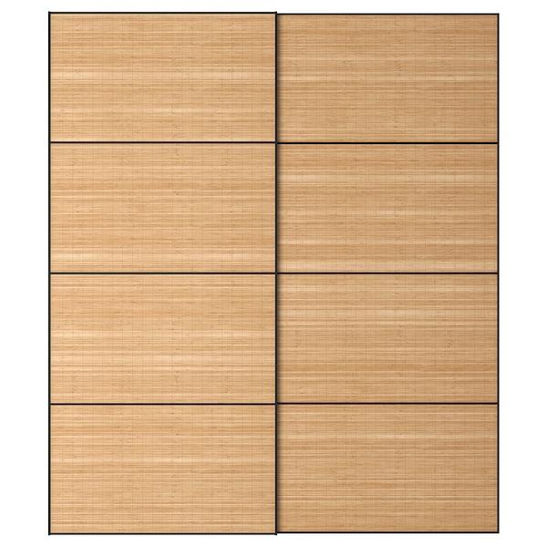 FJELLHAMAR schuifdeur, set van 2 donker bamboe 200 cm 236 cm 8.0 cm 2.3 cm