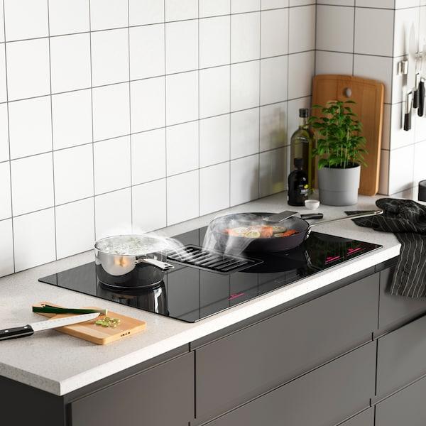 FÖRDELAKTIG Inductiekookplaat/geïnteg afzuigkap, IKEA 700 zwart, 83 cm