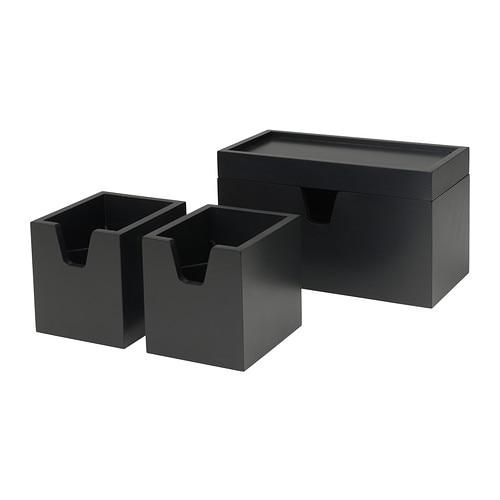 F rh ja kistje set van 4 zwart ikea for Ikea accessoires bureau
