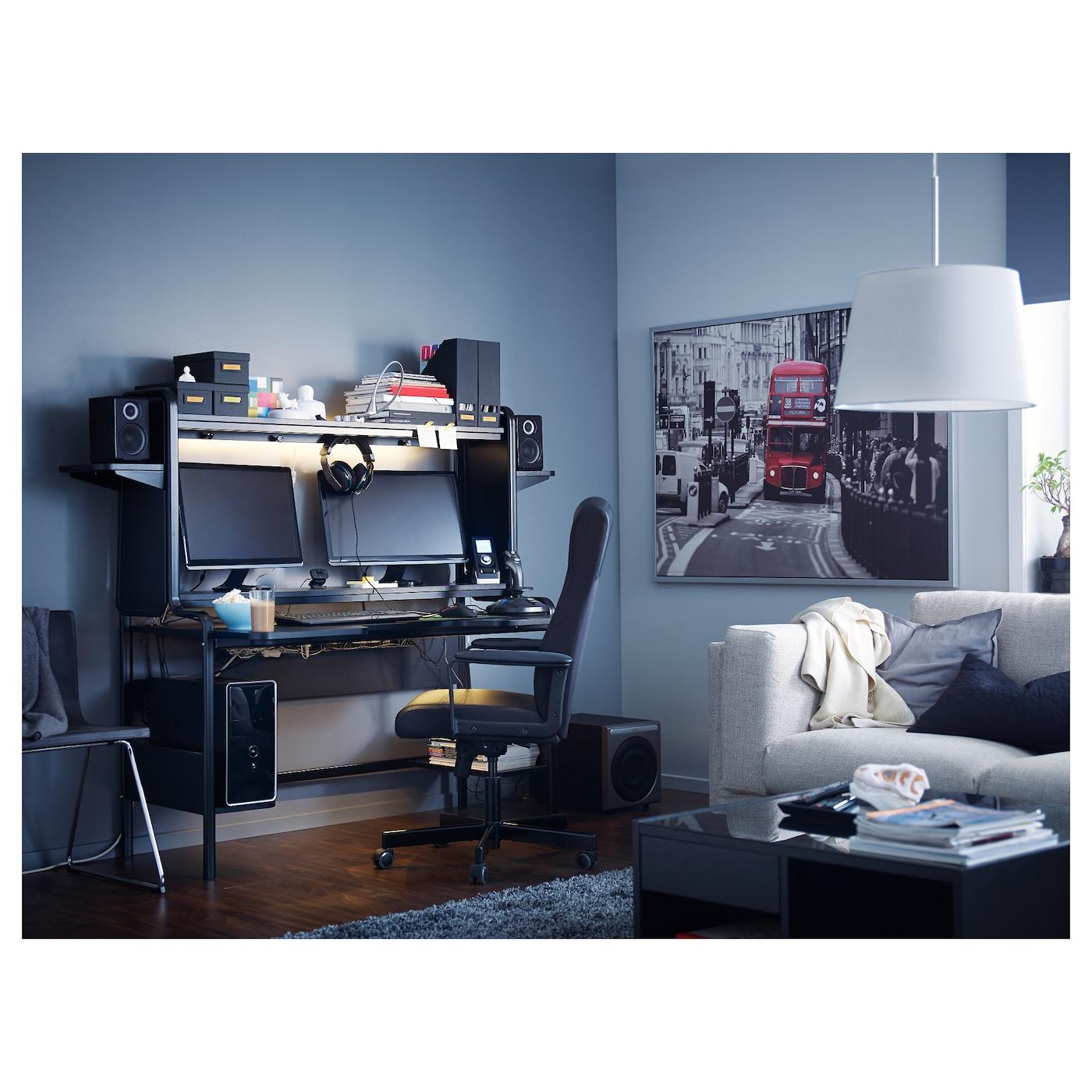 FREDDE Bureau, zwart, 185x74x146 cm