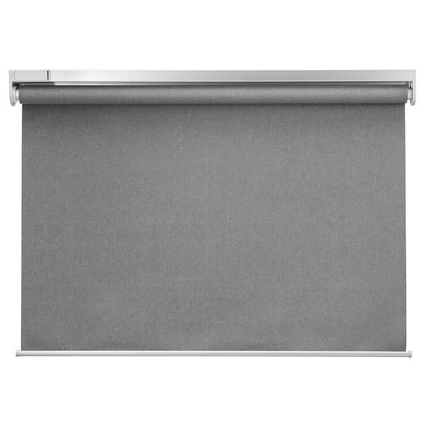 FYRTUR Verduisterend rolgordijn, koordloos/op batterijen grijs, 100x195 cm