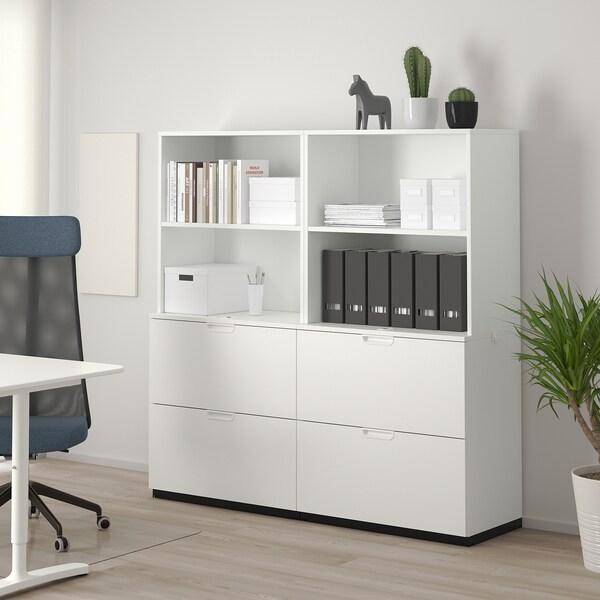 GALANT Opbergcombi met hangmappenhouder, wit, 160x160 cm