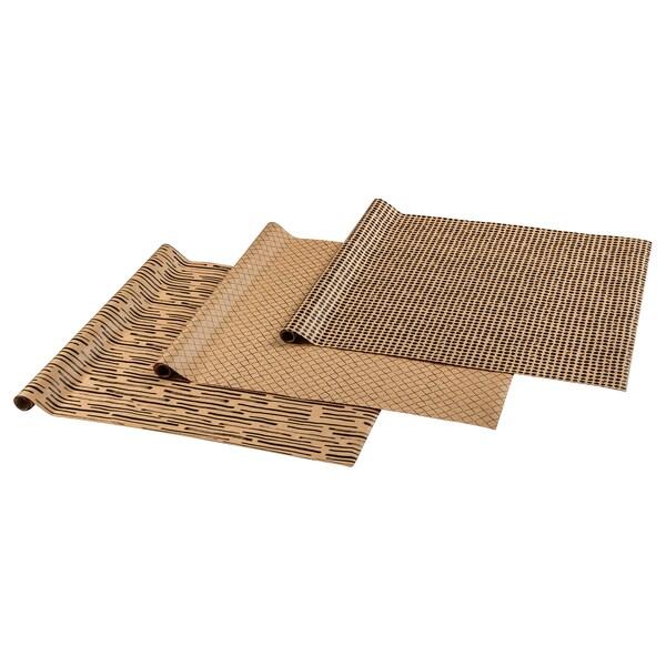 GIVANDE Rol cadeaupapier, naturel/zwart, 3.0x0.7 m