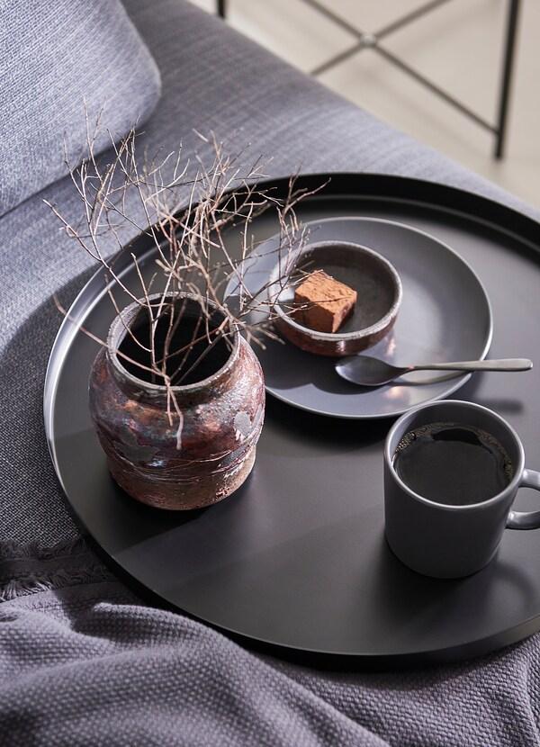 GLADOM Salontafel met dienblad, zwart, 45x53 cm