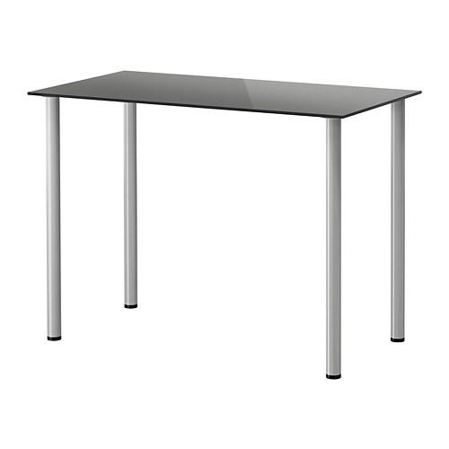 GLASHOLM    ADILS Tafel   glas zwart  zilverkleur   IKEA