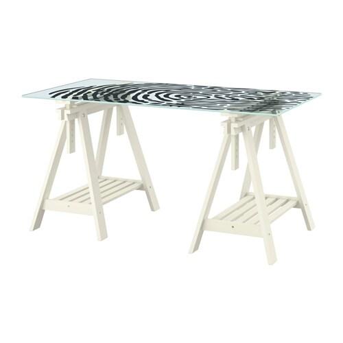 Glasholm finnvard tafel glas vingerafdrukpatroon wit - Gambe tavoli ikea ...