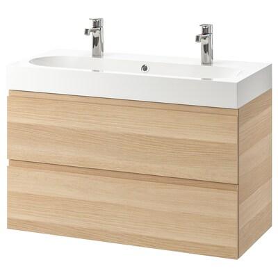 GODMORGON / BRÅVIKEN kast voor wastafel met 2 lades wit gelazuurd eikeneffect/BROGRUND kraan 100 cm 100 cm 48 cm 68 cm