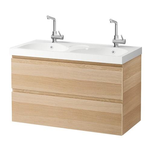 godmorgon edeboviken kast voor wastafel met 2 lades wit gelazuurd eikeneffect ikea. Black Bedroom Furniture Sets. Home Design Ideas