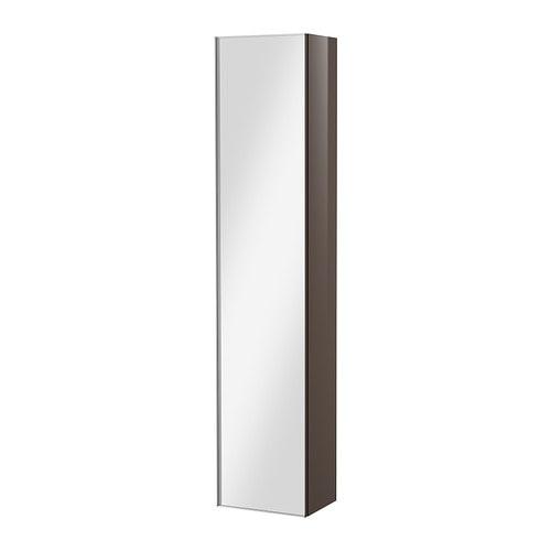 godmorgon hoge kast met spiegeldeur hoogglans grijs ikea. Black Bedroom Furniture Sets. Home Design Ideas