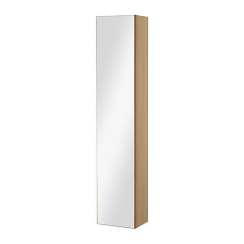 GODMORGON Hoge kast met spiegeldeur , wit gelazuurd eikeneffect Breedte: 40 cm Diepte: 30 cm Hoogte: 192 cm