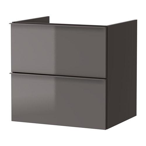 godmorgon kast voor wastafel met 2 lades hoogglans grijs 60x47x58 cm ikea. Black Bedroom Furniture Sets. Home Design Ideas