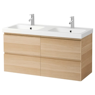 GODMORGON / ODENSVIK Kast voor wastafel met 4 lades, wit gelazuurd eikeneffect/DALSKÄR kraan, 123x49x64 cm