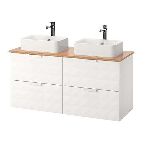 godmorgon tolken h rvik wastafelcombi 45x32 v bovenblad bamboe resj n wit ikea. Black Bedroom Furniture Sets. Home Design Ideas