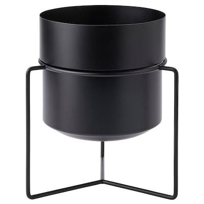 GOJIBÄR Sierpot met standaard, binnen/buiten zwart, 19 cm
