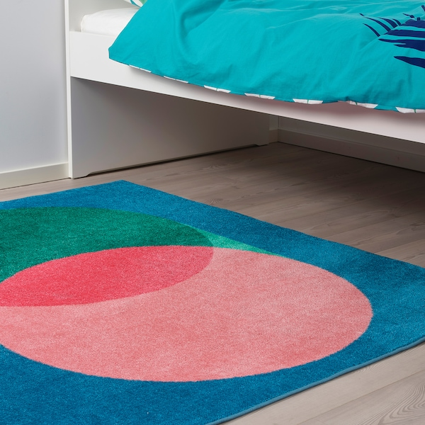 GRACIÖS Vloerkleed, roze/blauw, 133x160 cm
