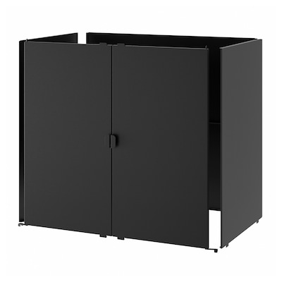 GRILLSKÄR Deur/zijpanelen/achterwand, zwart/roestvrij staal buiten, 86x61 cm