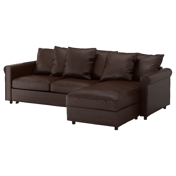 GRÖNLID 3-zits slaapbank, met chaise longue/Kimstad donkerbruin