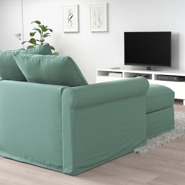 GRÖNLID 3-zits slaapbank, met chaise longue/Ljungen lichtgroen