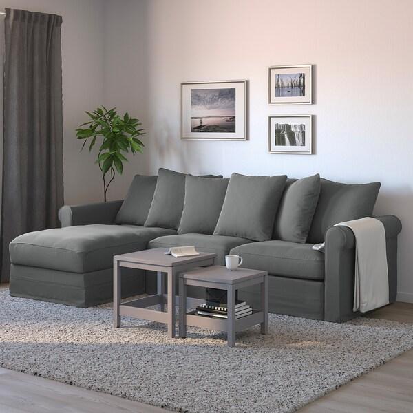 GRÖNLID 3-zits slaapbank, met chaise longue/Ljungen middengrijs