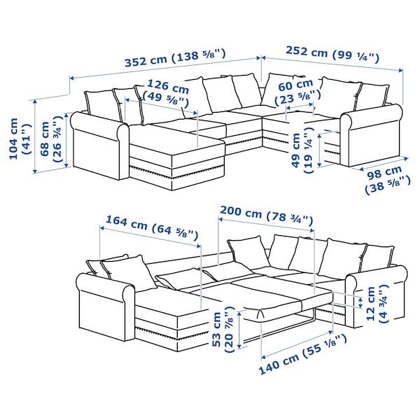 GRÖNLID Hoekslaapb, 5-zits met chaise lng, Sporda naturel