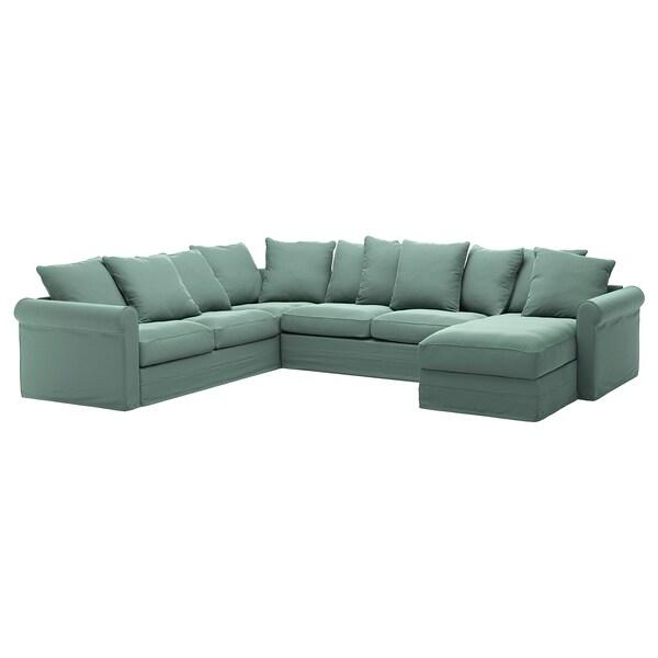 GRÖNLID Hoes voor hoekslaapbank, 5-zits, met chaise longue/Ljungen lichtgroen