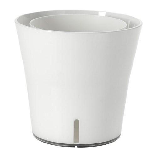GRÖNPEPPAR Sierpot met waterreservoir , wit Buitendiameter: 15 cm Max. diameter binnenpot: 12 cm Hoogte: 14 cm Binnendiameter: 14 cm