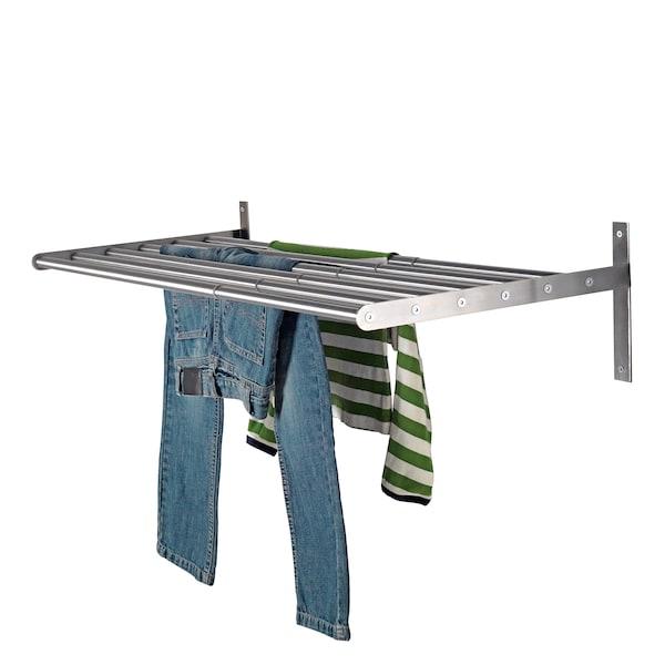 GRUNDTAL Droogrek wand, roestvrij staal, 67-120 cm