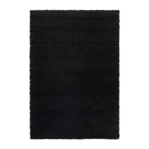 HAMPEN Vloerkleed, hoogpolig, zwart