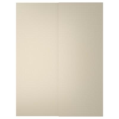 HASVIK schuifdeur, set van 2 beige 150 cm 201 cm 8.0 cm 2.3 cm