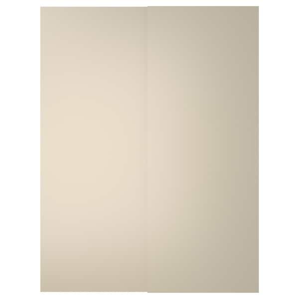 HASVIK Schuifdeur, set van 2, beige, 150x201 cm