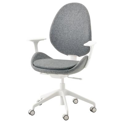 HATTEFJÄLL Bureaustoel met armleuningen, Gunnared middengrijs/wit